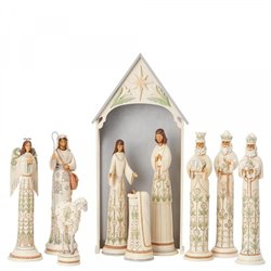 A Time For Joy (White Woodland 10 Piece Nativity Set LE Masterpiece) N