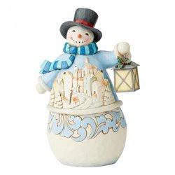 Calm and Bright (Snowman with Village Scene Figurine)