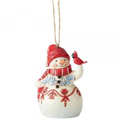 Mini Red and White Snowman (Hanging Ornament)