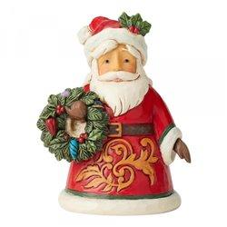 Santa Holding Wreath Mini Figurine