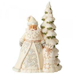 Secrets Of The Snowfall (White Woodland Santa with Tree Figu