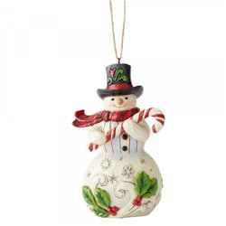 Snowman with Candy Cane (Hanging Ornament)