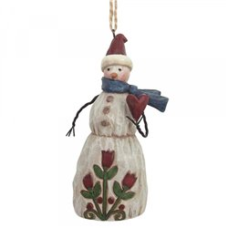 Folklore Snowman With Heart (Hanging ornament)